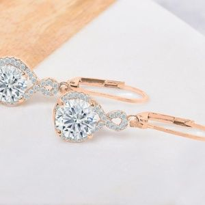 Rose Gold Plated Infinity Crystal Drop Earrings
